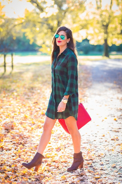 Fall outfit with plaid dress and heeled boots