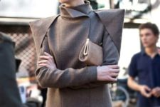 Fantastic gray jacket with black pants and neutral clutch