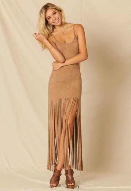 Fringe maxi dress with platform sandals