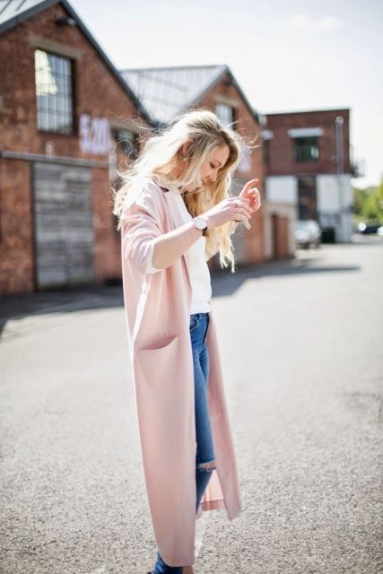 Gentle look with light pink coat, white shirt and jeans