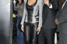 Gray jacket and black leather skinny pants