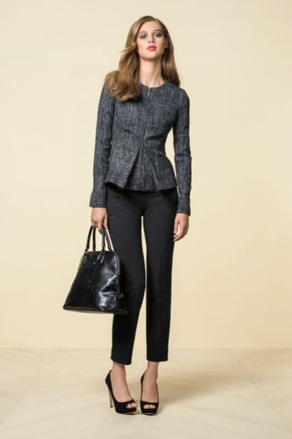 Gray jacket with cropped black pants