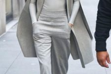 Gray long blazer and gray shirt, pants and pumps