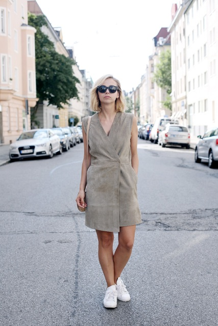 Gray wraped dress with white sneakers