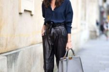 Leather pants look