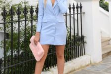Light blue mini dress with lace up heels and light pink clutch