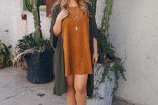 Loose dress with long cardigan