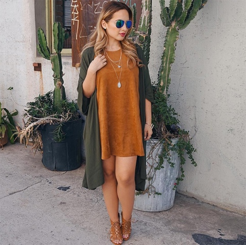 Loose dress with long cardigan