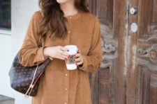 Loose mini shirtdress with bag