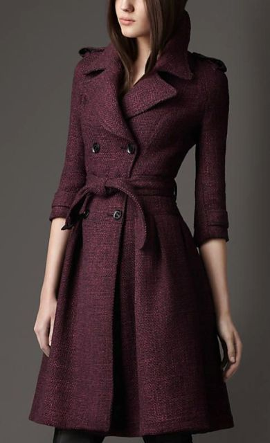 Marsala A-line tweed coat