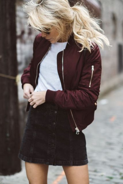 Marsala bomber jacket with