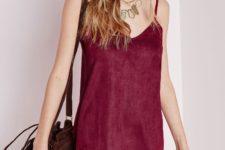 Marsala fringe mini dress with fringe bag