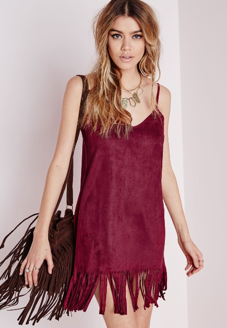 Marsala fringe mini dress with fringe bag