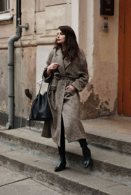 Midi coat with black bag and shoes