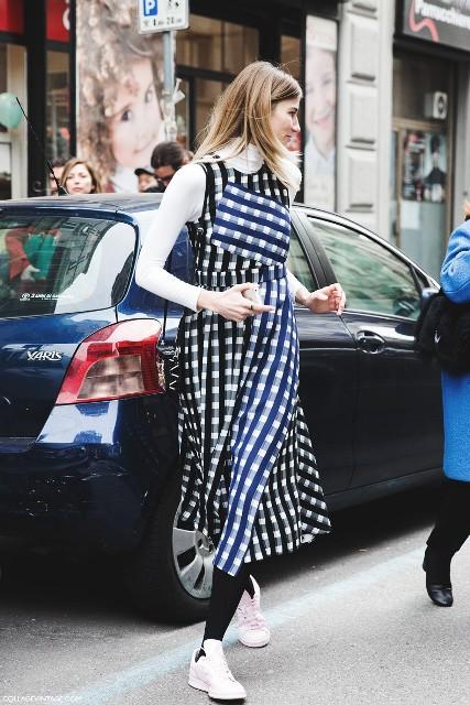 Midi dress with white turtleneck