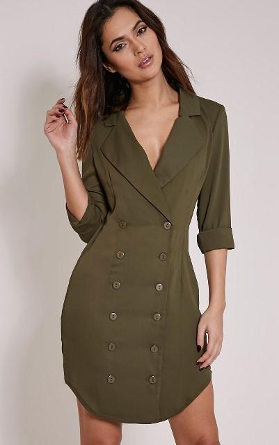 Olive color mini dress