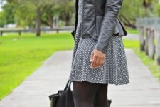 Peplum jacket with printed dress