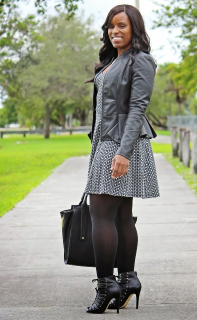 Peplum jacket with printed dress