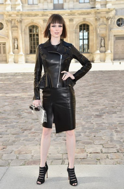Peplum leather jacket and leather skirt all-black outfit