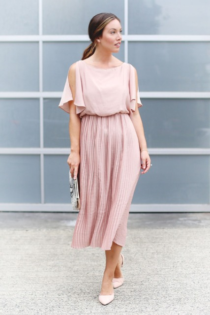 Pleated midi dress with neutral flats