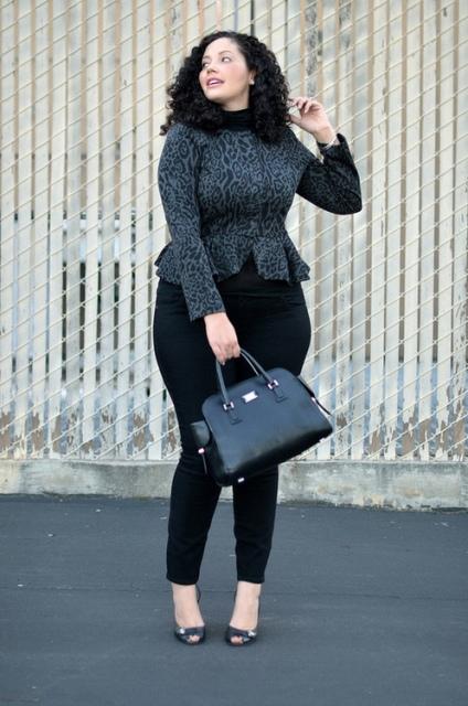 Printed jacket and black pants