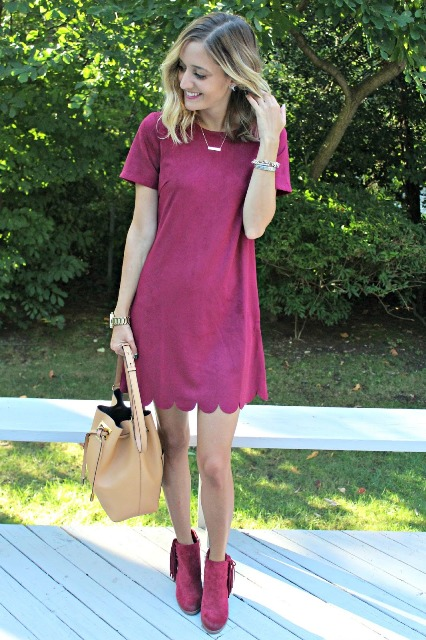 Scalloped dress with colored boots