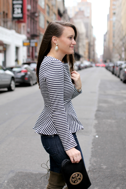 Striped jacket with jeans and clutch
