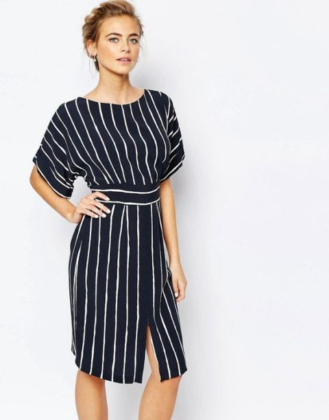 Striped knee length kimono sleeve dress