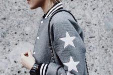 Trendy gray bomber jacket idea