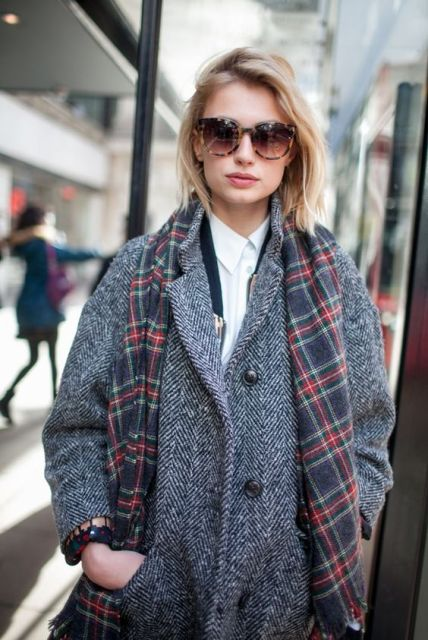 Tweed coat with plaid scarf