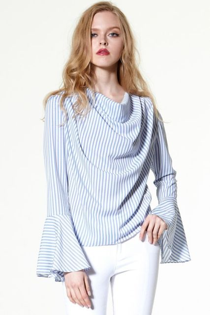 Unique striped bell sleeved blouse with white pants
