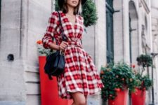 V-neck dress with black accessories and boots