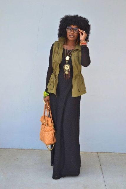 WIth maxi dress, statement necklace and leather bag