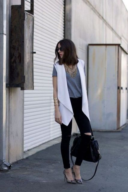 White long vest with black pants and printed shoes (great look for an office)