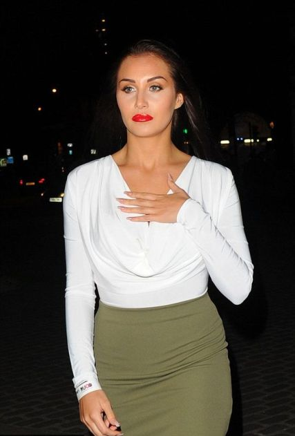 White shirt with olive color skirt