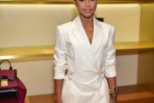 White super short dress with mini bag