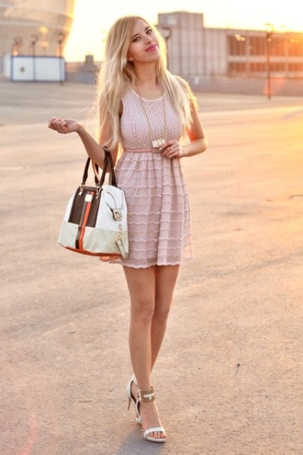 With bag and white sandals