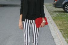 With black jacket, classic pumps and red clutch (good work outfit)