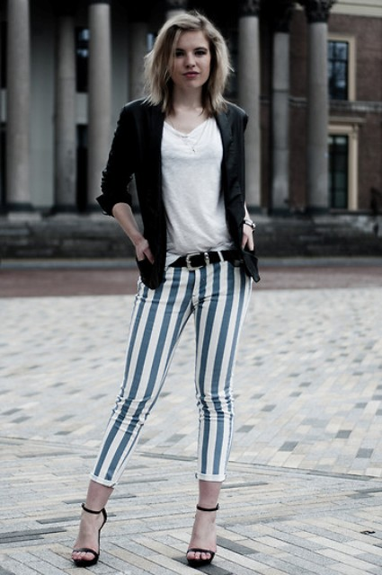 With black jacket, white t-shirt and heels