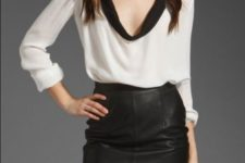 With black leather mini skirt