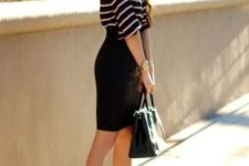 With black pencil skirt and beige pumps