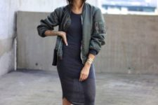 With casual midi dress and sneakers