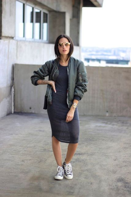 Picture Of With Casual Midi Dress And Sneakers