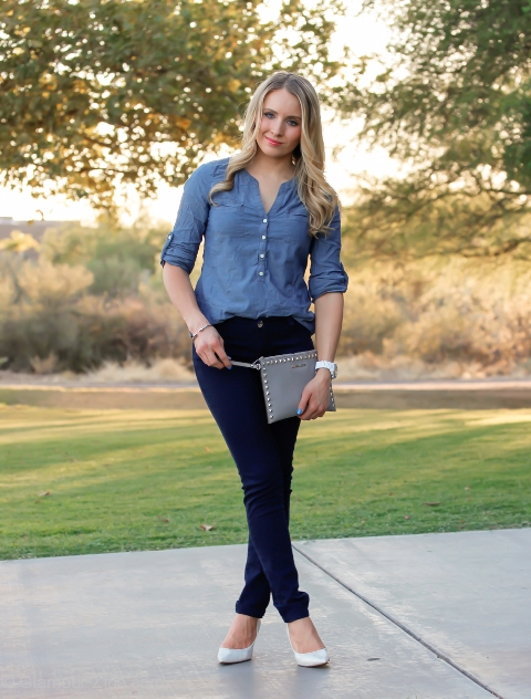 Chambray And White Pants Black Shoes