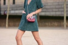 With colored mini bag and ankle boots