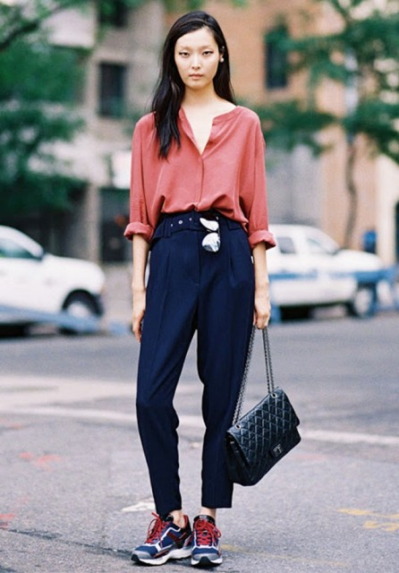 Creative Outfit Posts Red Cardigan White Camisole Navy Pants
