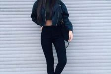 With crop top and black leggings
