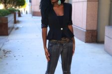 With cropped jeans and black pumps