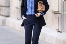 With denim shirt and white sneakers