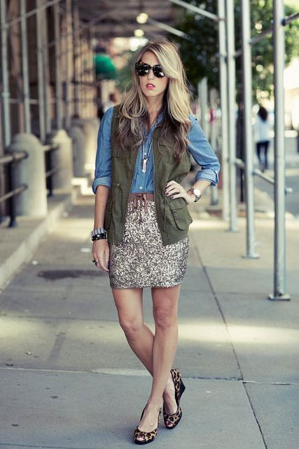With denim shirt, glitter skirt and leopard shoes